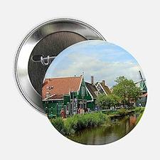 "Dutch windmill village, Holland 2.25"" Button"