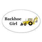 Backhoe Girl Sticker (Oval 50 pk)