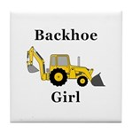 Backhoe Girl Tile Coaster