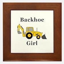 Backhoe Girl Framed Tile