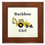 Backhoe Girl Framed Tile