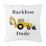 Backhoe Dude Woven Throw Pillow