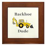 Backhoe Dude Framed Tile