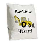 Backhoe Wizard Burlap Throw Pillow