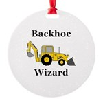 Backhoe Wizard Round Ornament