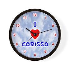 I Love Carissa (Red/Bl) Valentine Wall Clock