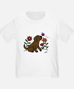 Chocolate Labrador and Green T-Shirt
