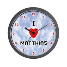 I Love Matthias (Red/Blk) Valentine Wall Clock