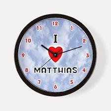 I Love Matthias (Red/Blk) Valentine Wall Clock