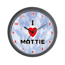I Love Mattie (Red/Blk) Valentine Wall Clock