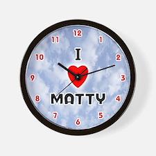 I Love Matty (Red/Blk) Valentine Wall Clock