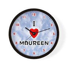 I Love Maureen (Red/Blk) Valentine Wall Clock