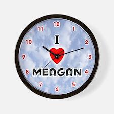 I Love Meagan (Red/Blk) Valentine Wall Clock