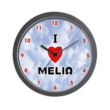 I Love Melia (Red/Blk) Valentine Wall Clock