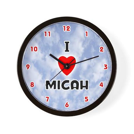 I Love Micah (Red/Blk) Valentine Wall Clock