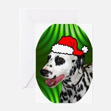 dalmatianxmas-oval Greeting Cards