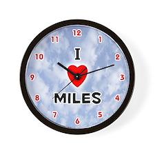 I Love Miles (Red/Blk) Valentine Wall Clock