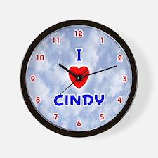 I Love Cindy (Red/Bl) Valentine Wall Clock