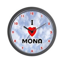 I Love Mona (Red/Blk) Valentine Wall Clock