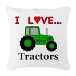 I Love Tractors Woven Throw Pillow