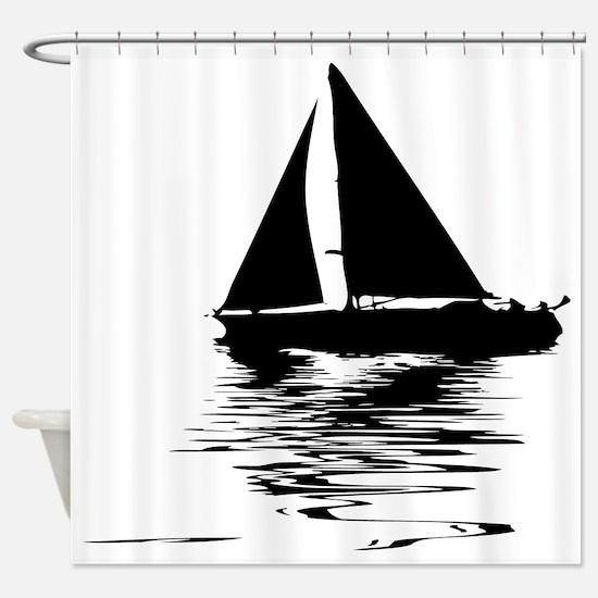 Cute Sailboat Shower Curtain