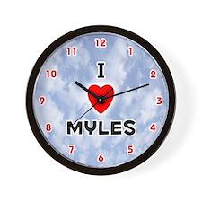 I Love Myles (Red/Blk) Valentine Wall Clock