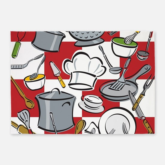 Kitchen Tools Check 5'x7'Area Rug