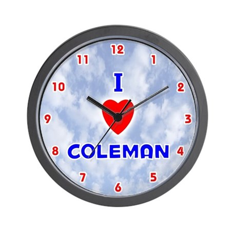 I Love Coleman (Red/Bl) Valentine Wall Clock