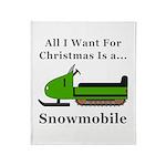 Christmas Snowmobile Throw Blanket