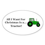 Christmas Tractor Sticker (Oval 10 pk)