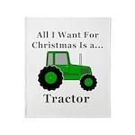 Christmas Tractor Throw Blanket