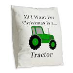 Christmas Tractor Burlap Throw Pillow