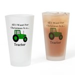 Christmas Tractor Drinking Glass