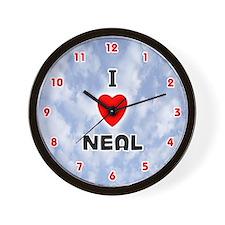 I Love Neal (Red/Blk) Valentine Wall Clock