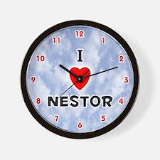 I Love Nestor (Red/Blk) Valentine Wall Clock
