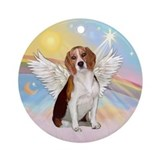 Angel in heaven beagle Round Ornaments