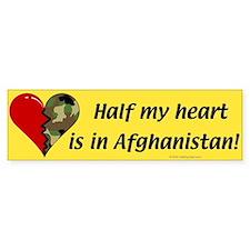 Half my heart is in Afghanistan Bumper Car Sticker