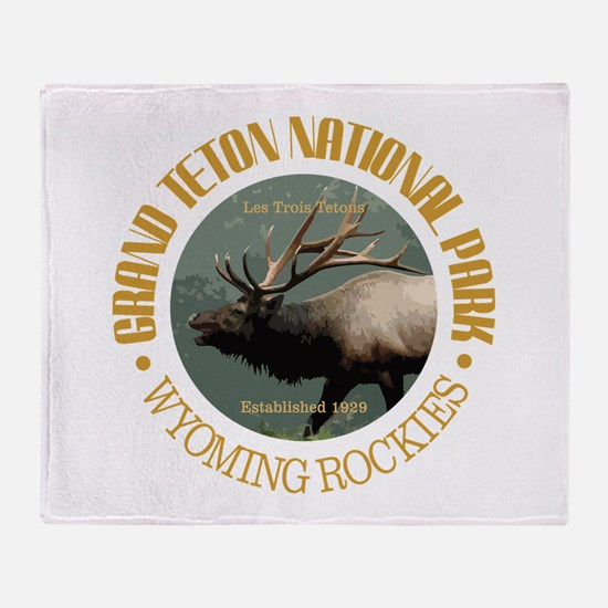 Grand Teton NP (elk) Throw Blanket