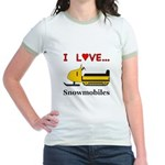 I Love Snowmobiles Jr. Ringer T-Shirt