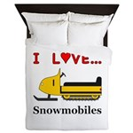 I Love Snowmobiles Queen Duvet