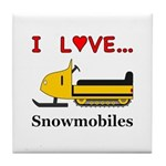 I Love Snowmobiles Tile Coaster