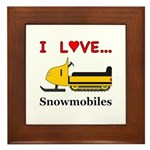 I Love Snowmobiles Framed Tile