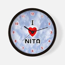 I Love Nita (Red/Blk) Valentine Wall Clock