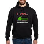 I Love Snowmobiles Hoodie (dark)