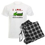 I Love Snowmobiles Men's Light Pajamas