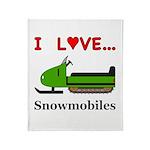 I Love Snowmobiles Throw Blanket