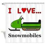 I Love Snowmobiles Shower Curtain