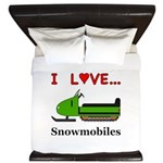 I Love Snowmobiles King Duvet