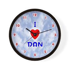 I Love Dan (Red/Bl) Valentine Wall Clock
