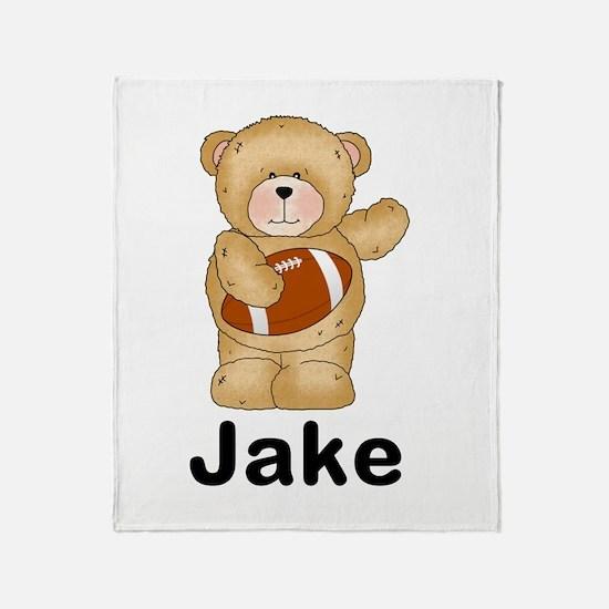 Jake's Football Bear Throw Blanket